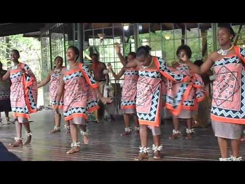 Traditional Swazi women singing and dancing
