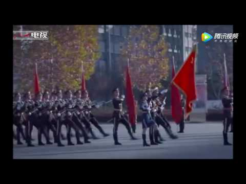 New recruits of the guard of honor of the Chinese PLA march for their parents for the 1st time