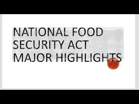 National Food Security Act Major Highlights