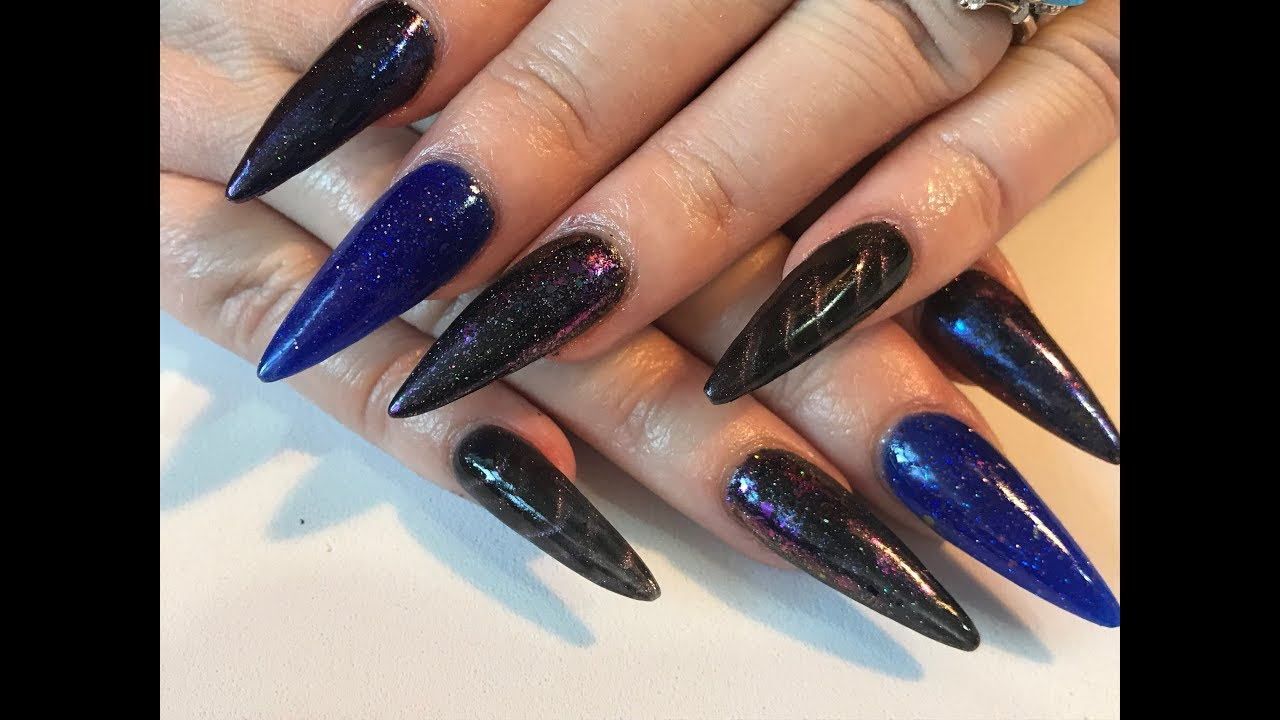 Acrylic Nails - long sculptured stiletto nails along with review of bornpretty nailart