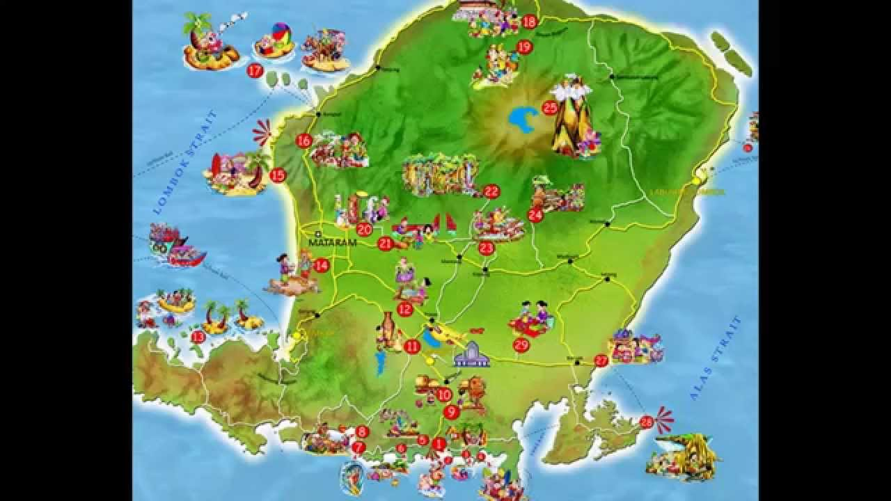 Peta Lombok Map Gili Trawangan Air Meno Map - YouTube