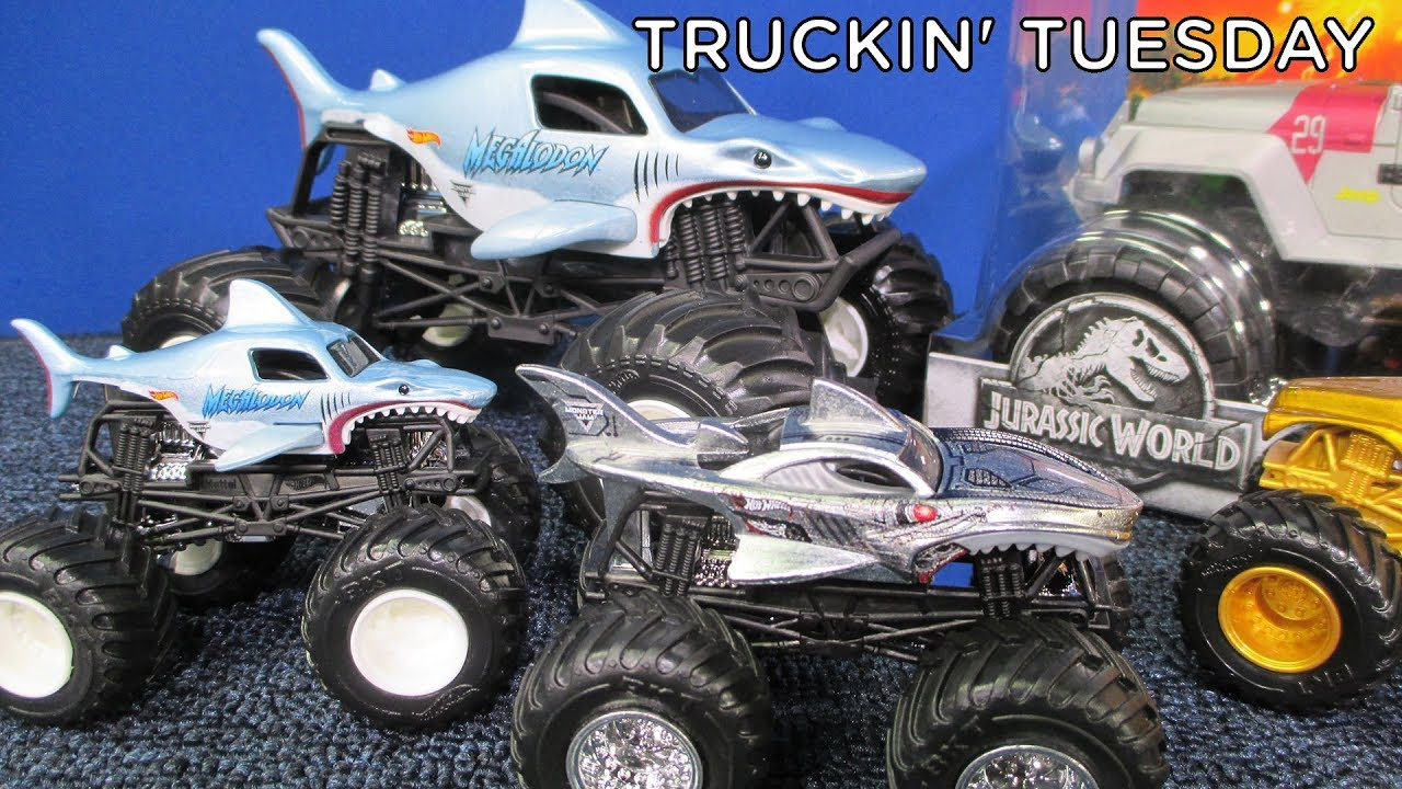 Truckin Tuesday Monster Jam Megalodon 1 24 Hot Wheels Monster Jam Truck Youtube