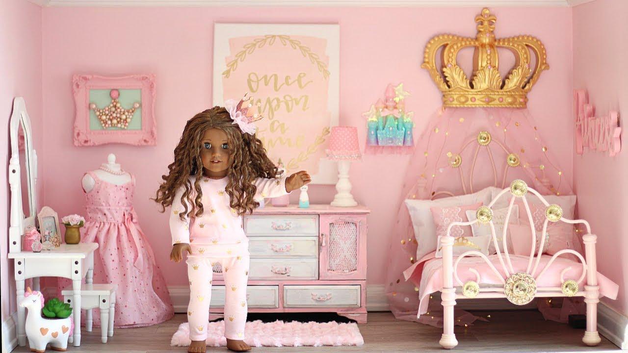 american girl doll princess bedroom👑  youtube