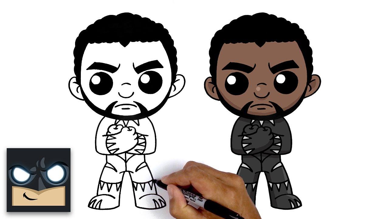 Hoe Black Panther te tekenen   Online tekenfilms
