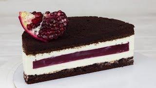 """Рецепт торта """"Гранатовое чудо"""" Простой торт с нежной начинкой и вкусным шоколадным бисквитом."""