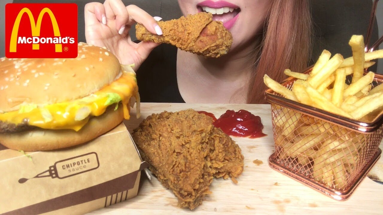 Asmr Mcdonalds Beef Burger Fried Chicken Fries Eating Sounds No Talking