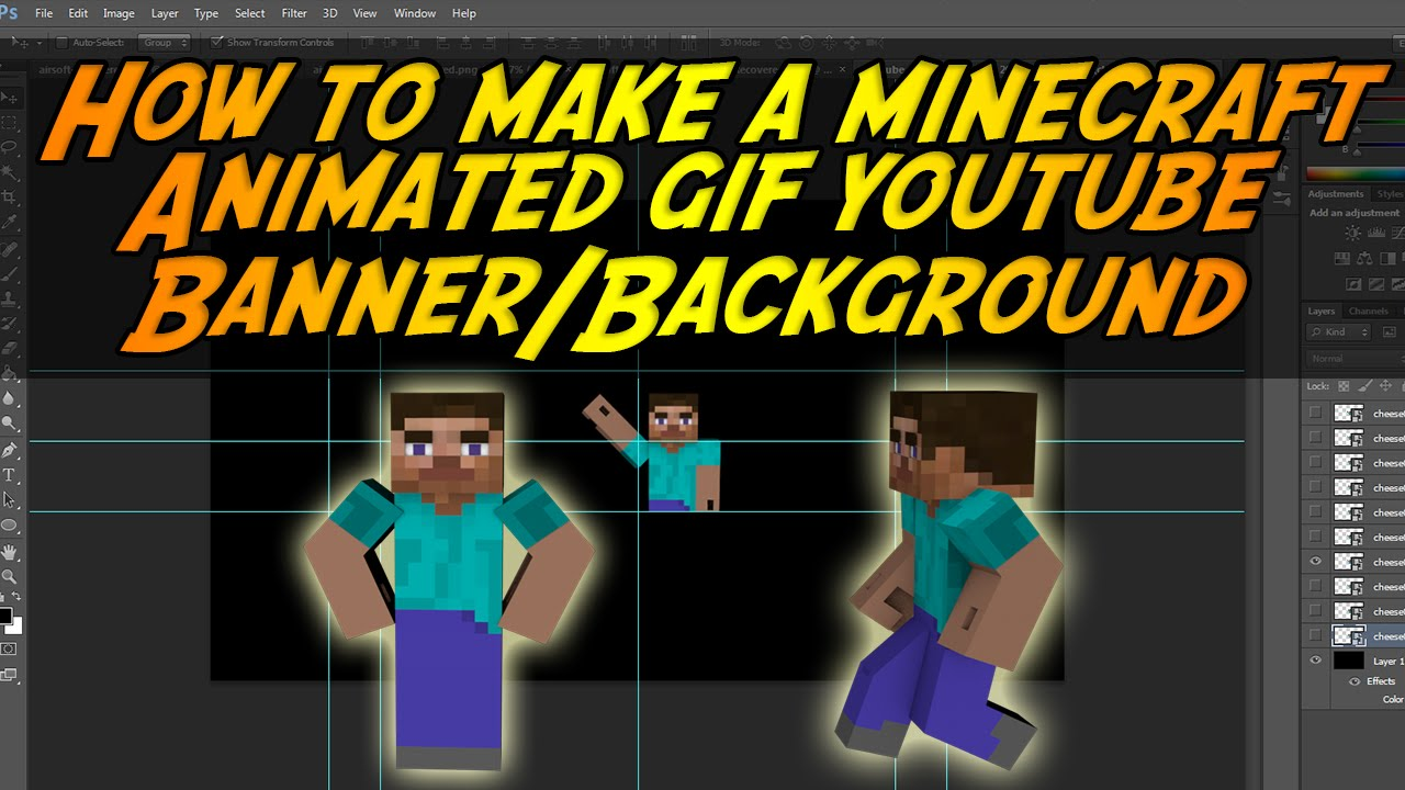 HOW TO MAKE A MINECRAFT ANIMATED GIF YOUTUBE BANNER/BACKGROUND ...