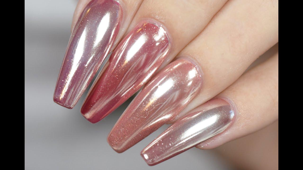 Дизайн ногтей втирка розовая