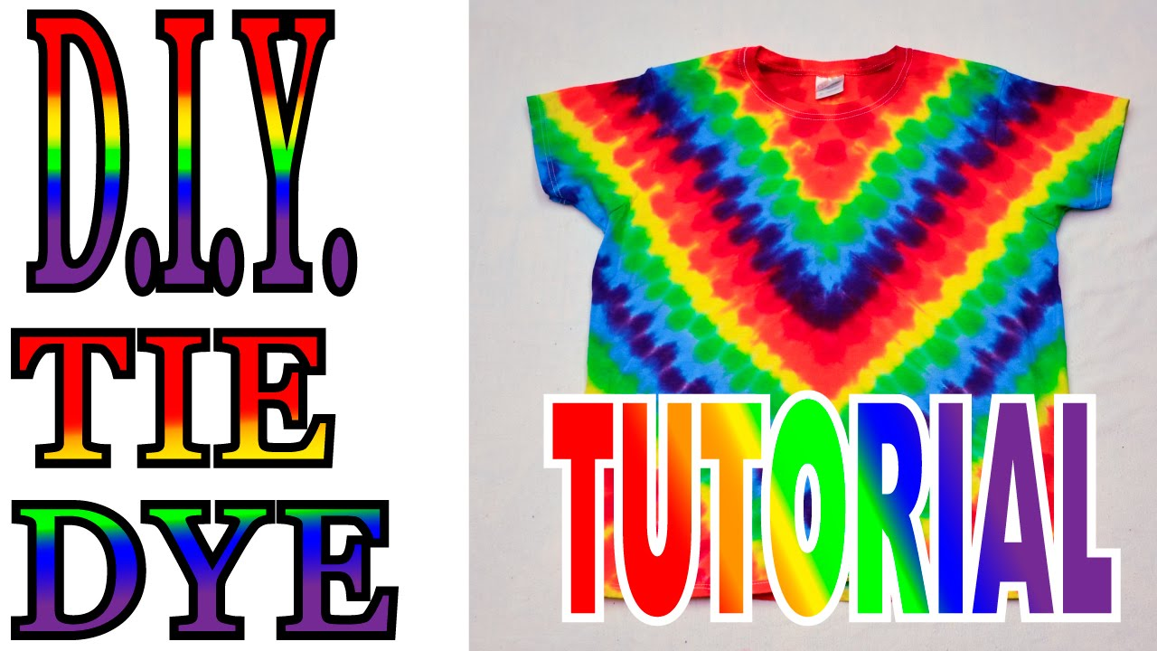 DIY How To Tie Dye Rainbow Diagonal Fan Fold Shirt Short