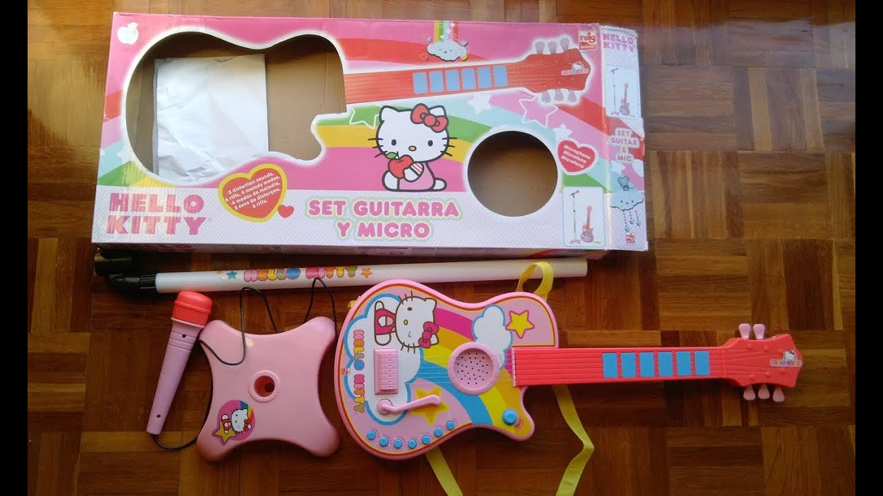 hello kitty electric guitar and microphone unboxing youtube. Black Bedroom Furniture Sets. Home Design Ideas