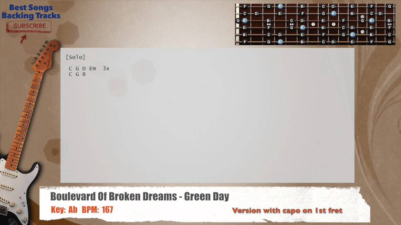 Boulevard Of Broken Dreams Green Day Guitar Backing Track With