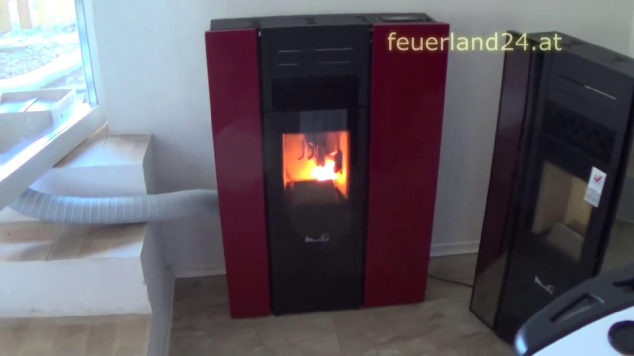Pelletofen 10kW von feuerland24 nur 21 cm tief Betriebsgeräusch Lautstärke  Pellets