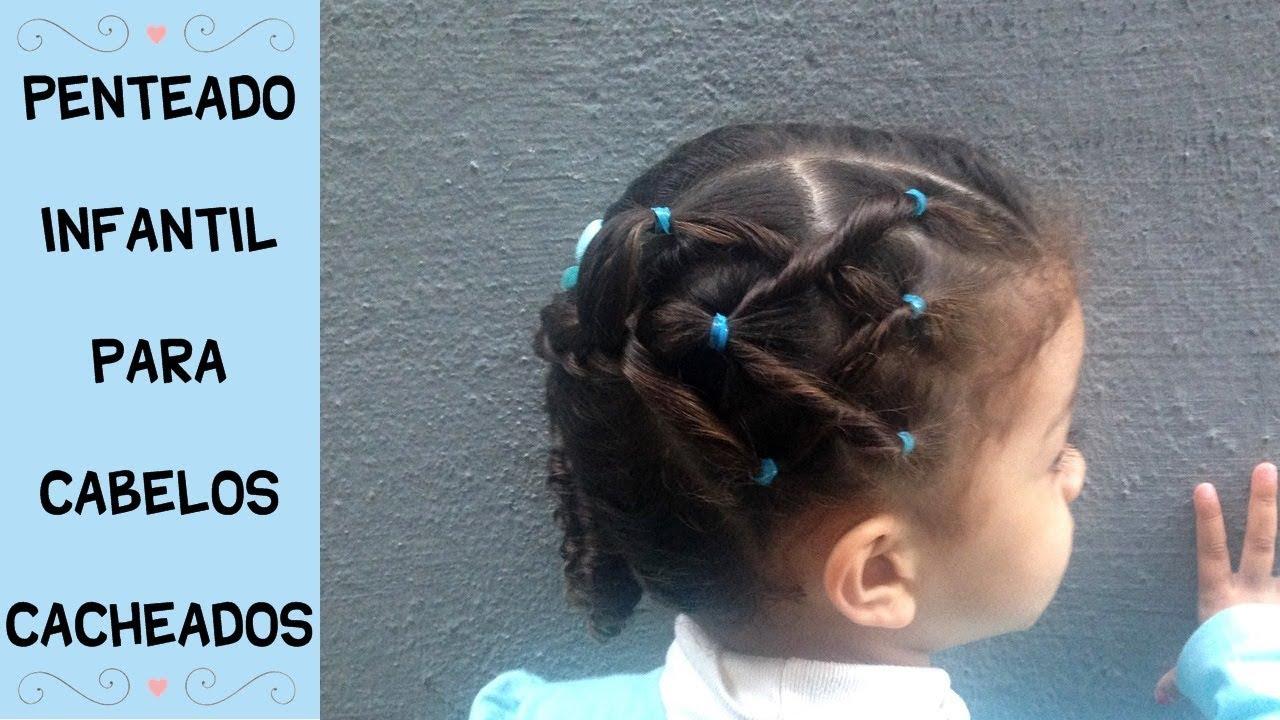 Penteado Infantil Para Cabelos Cacheados Penteado Lateral Com Elásticos E Trança