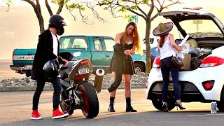 Girl Ditches Friend For Stranger on Motorcycle Prank!
