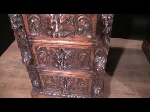 Antique Hand Carved English Oak Pedestal Desk