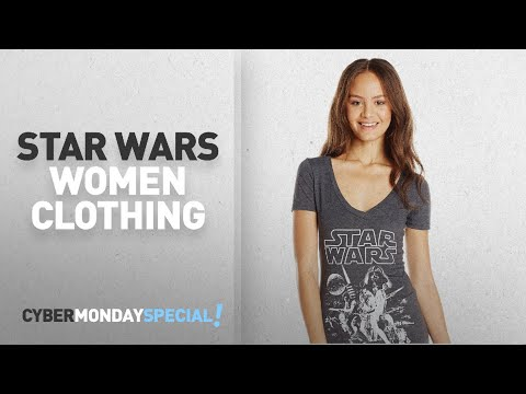 Cyber Monday Star Wars Women Clothing: Star Wars Juniors' Classic Poster Graphic V-Neck T-Shirt