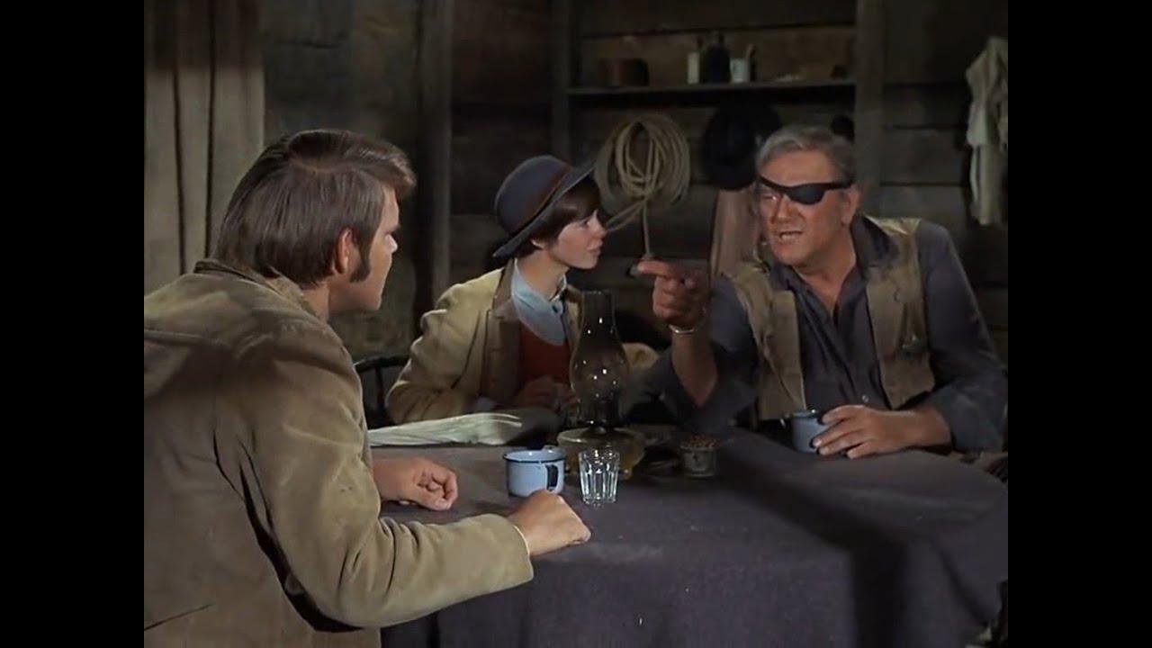 Download True Grit (1969) - La Boeuf (Glen Campbell), Rooster Cogburn (John Wayne) and Mattie (Kim Darby)