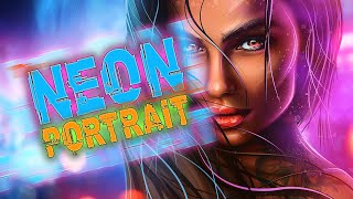 Neon Portrait. Speed-art by Alex Crow YouTube Videos