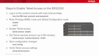 How to Enable Telnet Access on the Avaya ERS2500