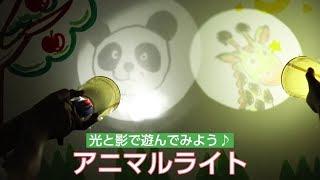 アニマルライトを作って、自分で描いた動物のイラストを壁に映し出してみましょう! ラップに描いた動物が懐中電灯に照らされて、壁に浮かび...