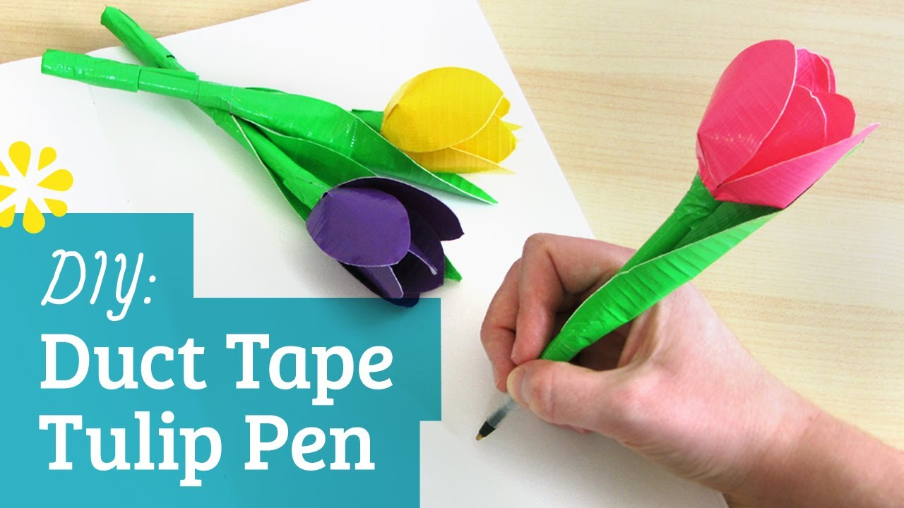 Diy Duct Tape Flower Pen Kin Collab Sea Lemon Youtube