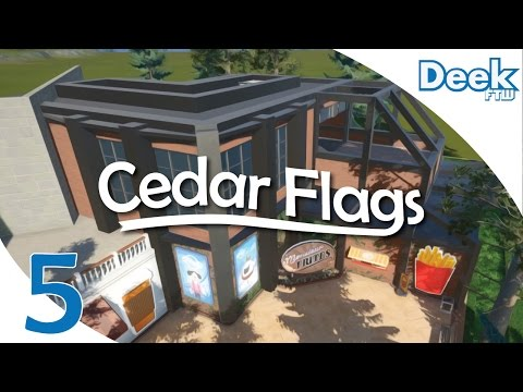 Let's Design Cedar Flags Ep.5  - Modern Architecture Style Monsieur Frites Building - Planet Coaster