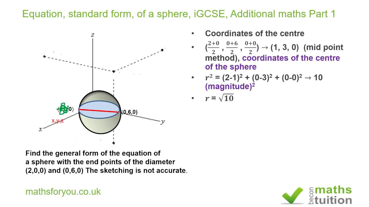 Equation, standard form, of a sphere iGCSE, Additional maths part ...