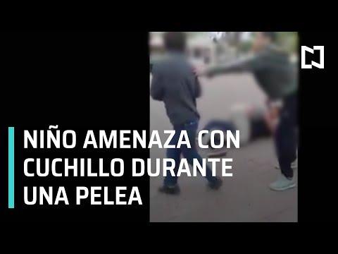 Niño amenaza con cuchillo en pelea en Nuevo León - A las Tres