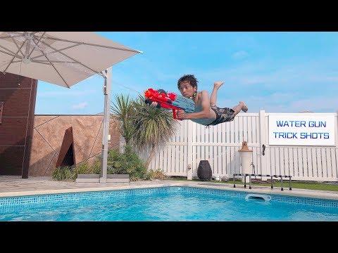 Water Gun Trick Shots   TWINS