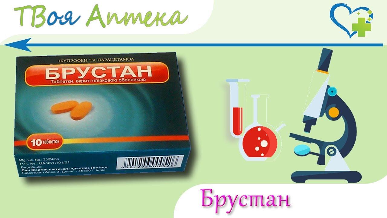 Брустан таблетки - показания, видео инструкция, описание, отзывы - Ибупрофен, Парацетамол
