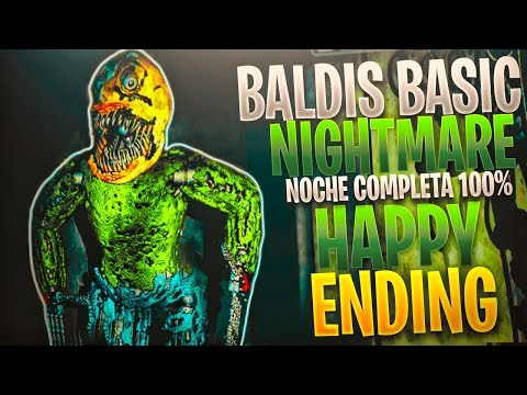 BALDIS BASIC NIGHTMARE NOCHE COMPLETA 100% HAPPY ENDING