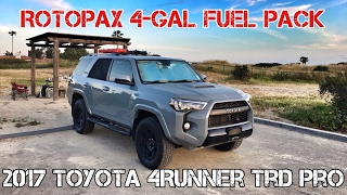 (Part15) 2017 4Runner TRD PRO Cement. ROTOPAX 4-Gal Fuel Pack on OEM Roofrack Crossbar.