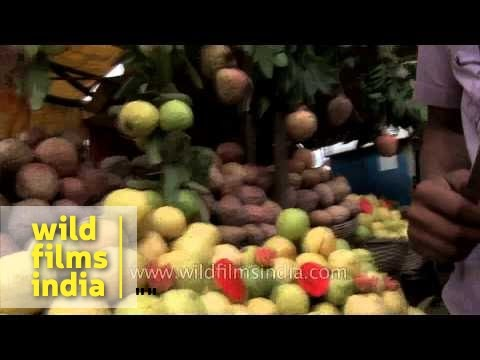 Fresh, strange and mysterious fruit on sale in India