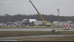 Airplane slides off runway at Newport News Williamsburg International Airport causing delays, cancel