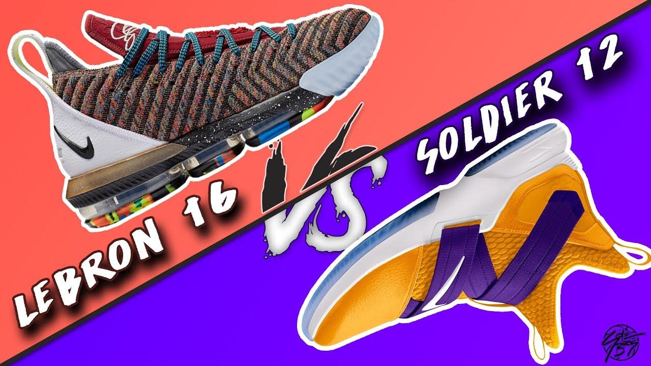 df2d407bc7ad Nike Lebron 16 vs Lebron Soldier 12! - YouTube
