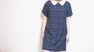 DIY Tartan Exposed Zipper Dress & Detachable Pointy Collarㅣmadebyaya