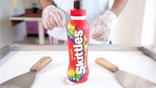 SKITTLES SHAKE ICE CREAM ROLLS - SATISFYING ASMR