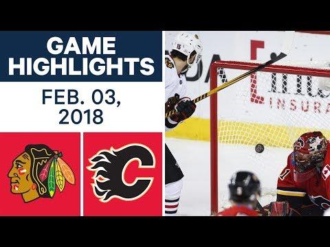 NHL Game Highlights | Blackhawks vs. Flames - Feb. 03, 2018