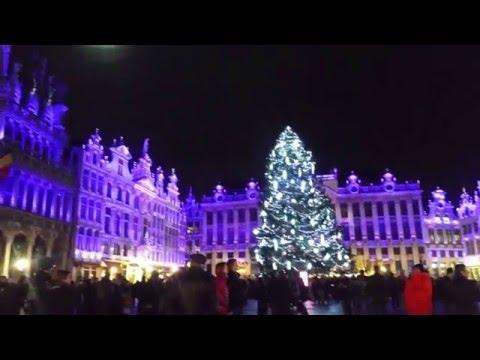 Grand Place Brussels Belgium December 2015 4k Video