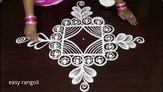 Beautifully drawn 5 dots rangoli art designs for beginners - easy kolam designs - Muggulu