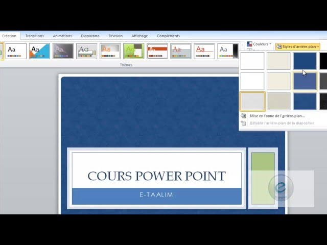 12 MS PowerPoint : Onglet Création : Thèmes Et ArrièrePlanDesDiapositives