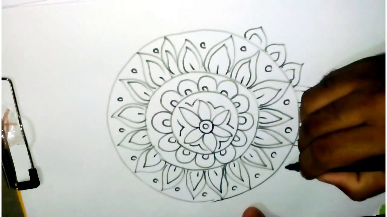 How to draw rangoli designs step by step easy rangoli design alpana design free hand kolam