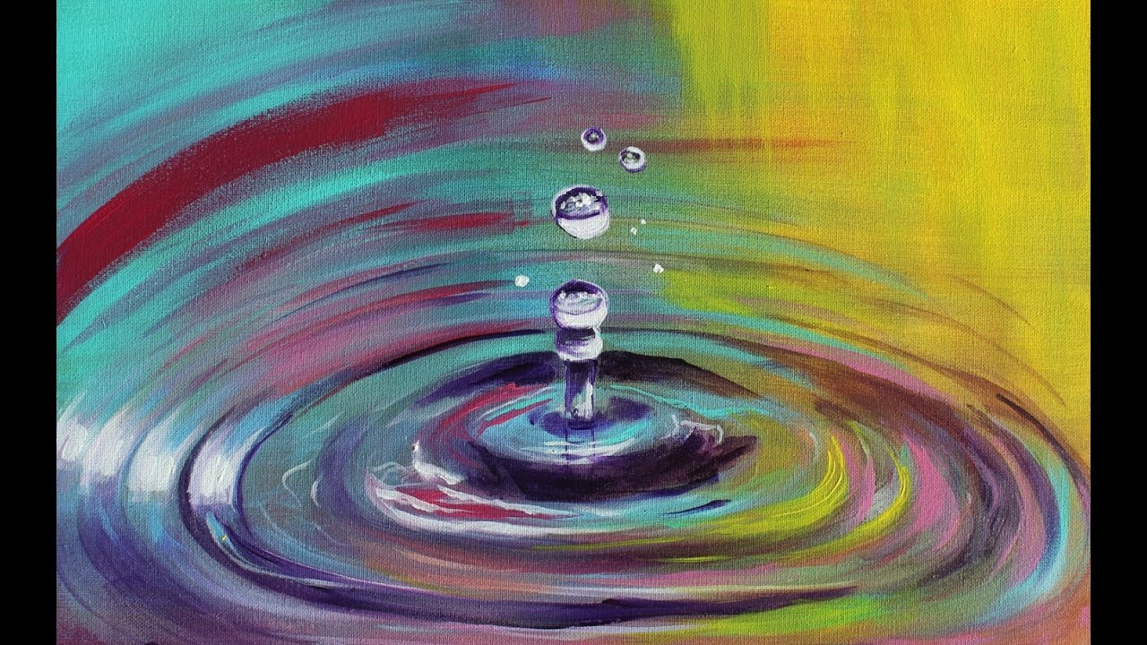 How to paint colorful water drops droplets step by step for Painting on water tutorial