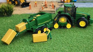 Bruder Tractor Farm work with Hay Bales! Agriculture machinery for kids!