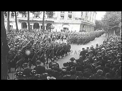Chief of State of Vichy France Philippe Petain meets with his cabinet during an a...HD Stock Footage