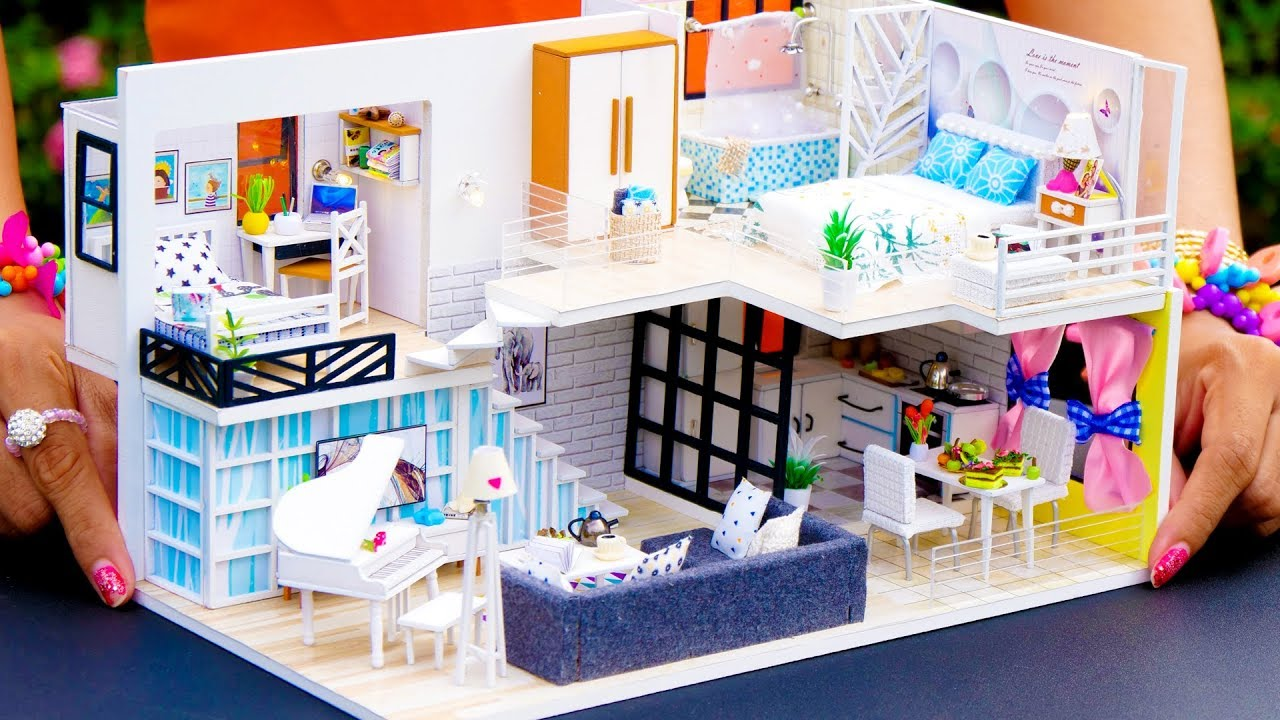 5 Diy Miniature Dollhouse Rooms Family Youtube