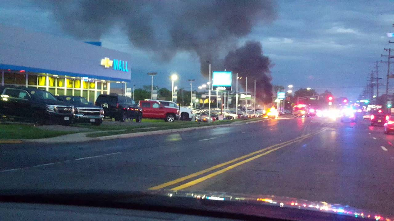 Car on fire outside mall chevy cherry hill nj - YouTube
