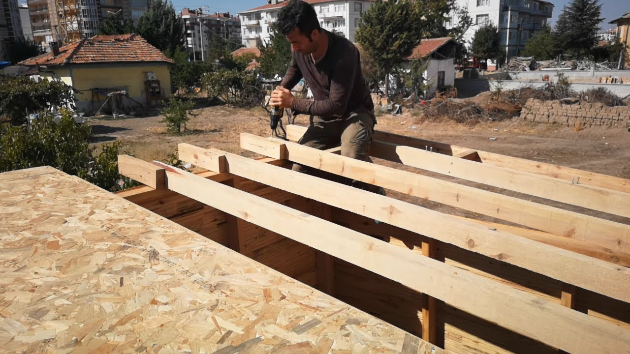 Building a wooden house for a workshop//Ahşap ev yapımı//Tiny house wood cabin (part4)