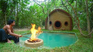 Build Hobbit House and inground Pool in the Jungle -- real life survival minecraft