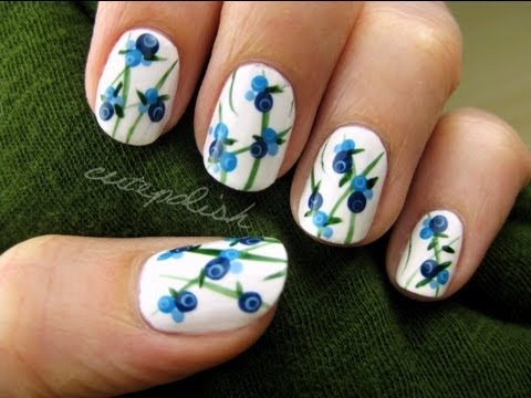 cute blueberry nail art